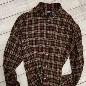 Structure Long Sleeve Plaid Shirt Large